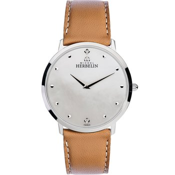 MICHEL HERBELIN Classic Zircon Brown Leather Strap