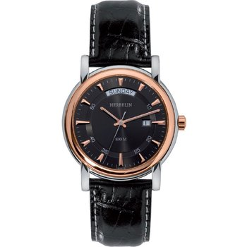 MICHEL HERBELIN Classic Rose Gold Black Leather Strap