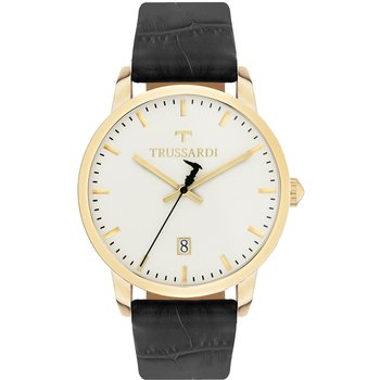 TRUSSARDI My Time Stainless Steel Case Brown Leather Strap