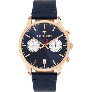 TRUSSARDI My Time Chronograph Blue Leather Strap