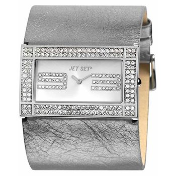 JET SET Beverly Hills Crystals Grey Leather Strap
