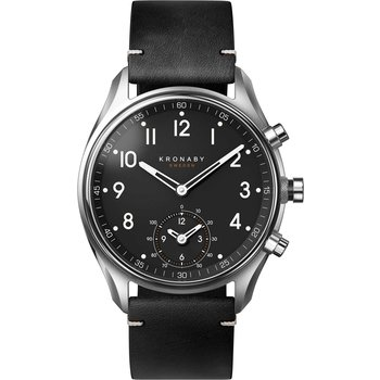 KRONABY SWEDEN CONNECTED Apex Black Leather Strap