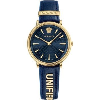 VERSACE V-Circle Blue Leather