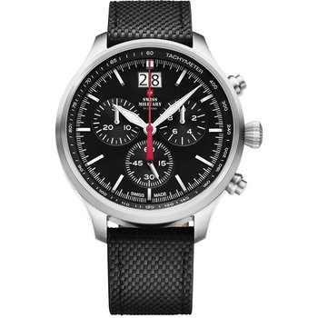 SWISS MILITARY by CHRONO Mens Chronograph Black Leather Strap