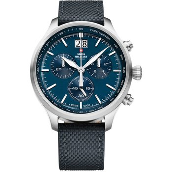 SWISS MILITARY by CHRONO Mens Chronograph Blue Leather Strap