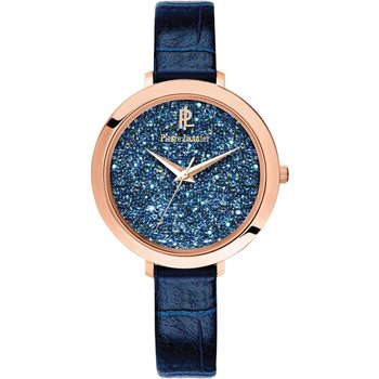 PIERRE LANNIER Ladies Swarovski Blue Leather Strap