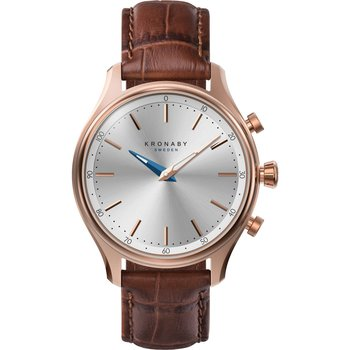 KRONABY SWEDEN CONNECTED Sekel Brown Leather Strap