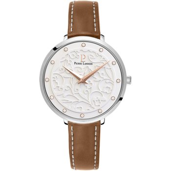 PIERRE LANNIER Eolia Crystals Brown Leather Strap