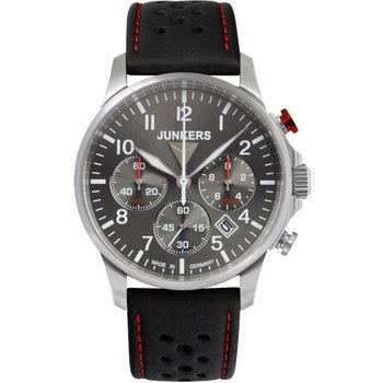 JUNKERS Tante Ju Chronograph Black Leather Strap