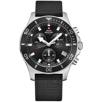 SWISS MILITARY by CHRONO Mens Chronograph Black Combined Materials Strap