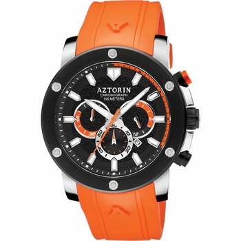 AZTORIN Sport Chronograph Orange Rubber Strap