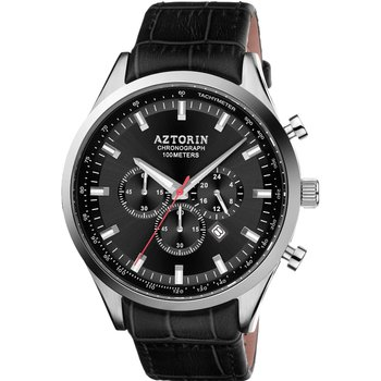 AZTORIN Sport Chronograph Black Leather Strap