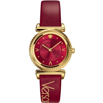 VERSACE V-Motif Red Leather