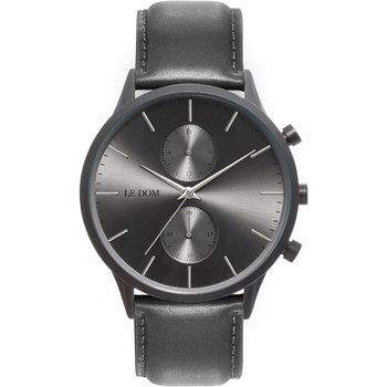 LE DOM Prime Chronograph Grey Leather Strap
