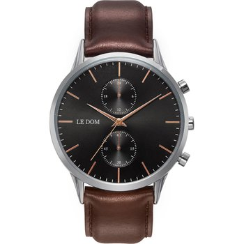 LE DOM Prime Chronograph Brown Leather Strap