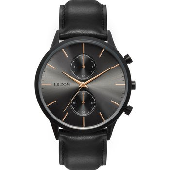 LE DOM Prime Chronograph Black Leather Strap