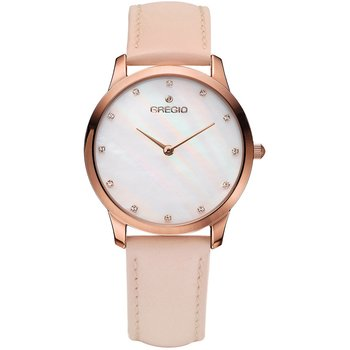 GREGIO Nora Crystals Pink Leather Strap