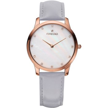 GREGIO Nora Crystals Grey Leather Strap