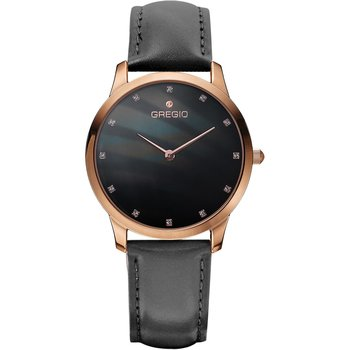 GREGIO Nora Crystals Black Leather Strap