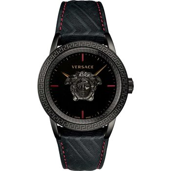 VERSACE Black Leather Strap