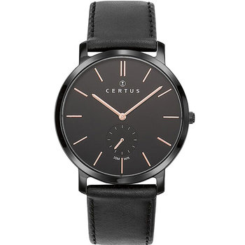 CERTUS Men Black Leather Strap