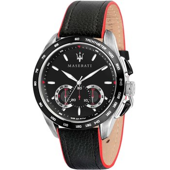 MASERATI Traguardo Chronograph Black Leather Strap