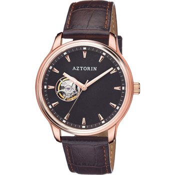 AZTORIN Classic Automatic Brown Leather Strap