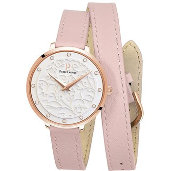 PIERRE LANNIER Eolia Crystals Pink Leather Strap