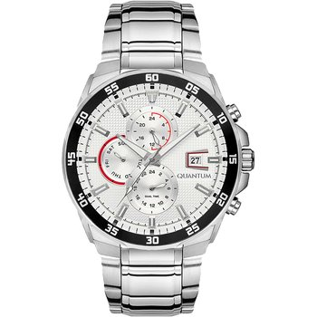 QUANTUM Adrenaline Dual Time Silver Stainless Steel Bracelet