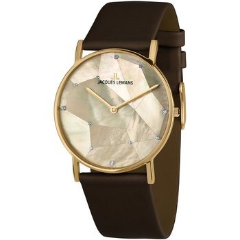 Jacques LEMANS York Crystals Brown Leather Strap