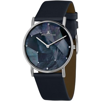 Jacques LEMANS York Crystals Blue Leather Strap