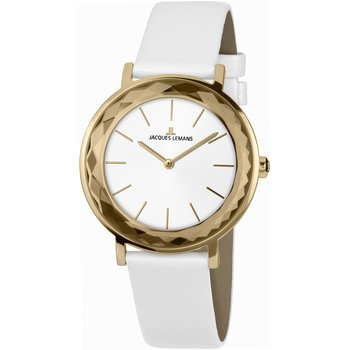 Jacques LEMANS York White Leather Strap