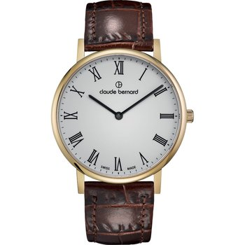 CLAUDE BERNARD Slim Line Brown Leather Strap