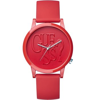 GUESS Ladies Red Rubber Strap