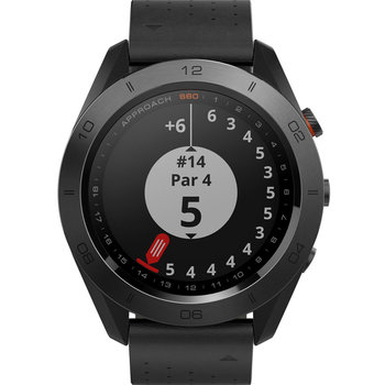 GARMIN Approach S60 Premium Golf Watch with Ceramic Bezel and Black Leather Strap