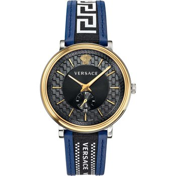 VERSACE V-Circle Two Tone Leather Strap
