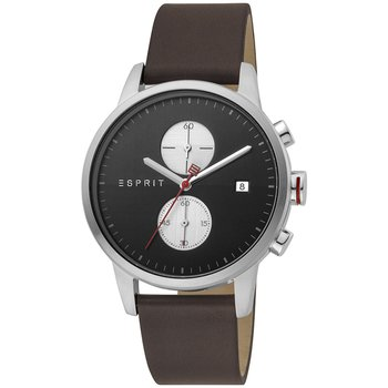 ESPRIT Linear Chronograph Brown Leather Strap