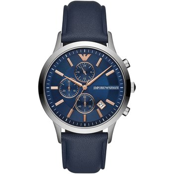 Emporio ARMANI Renato Chronograph Blue Leather Strap