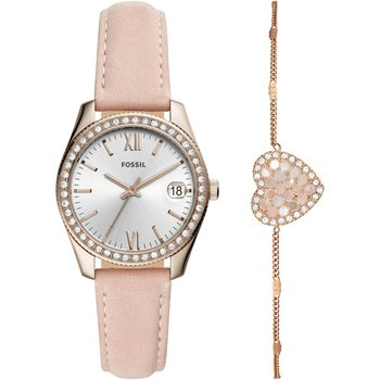 FOSSIL Scarlette Crystals Pink Leather Strap Gift Set