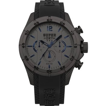 SUPERDRY Adventurer Dual Time Black Silicone Strap