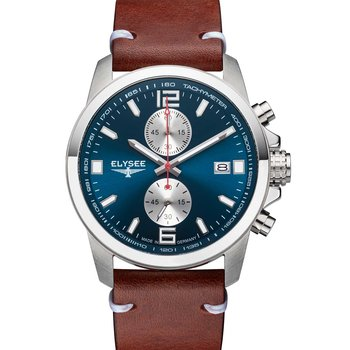 ELYSEE Ziros Chronograph Brown Leather Strap