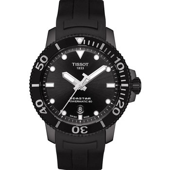 TISSOT T-Sport Seastar 1000 Powermatic 80 Black Rubber Strap