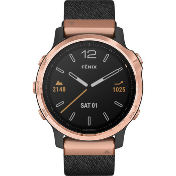 GARMIN Fenix 6S Sapphire Rose Gold-tone with Heathered Black Nylon Band + extra silicone band
