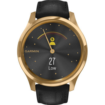 GARMIN Vivomove Luxe Black Embossed Leather with 24K Gold Hardware
