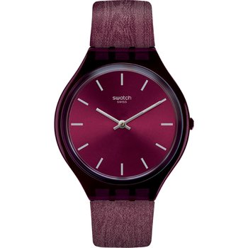SWATCH Skintempranillo Bordeaux Combined Materials Strap