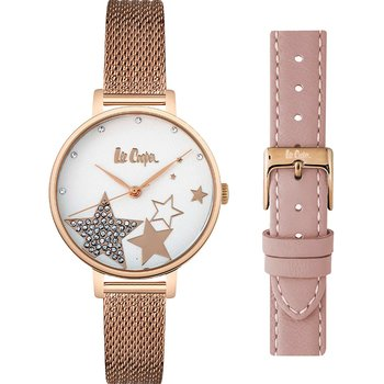 LEE COOPER Ladies Crystals Rose Gold Stainless Steel Bracelet Gift Set