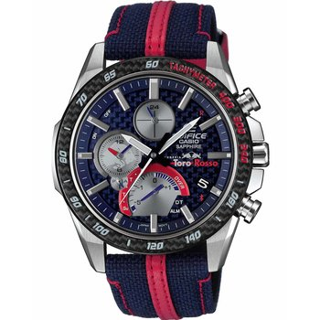 CASIO Edifice Toro Rosso Edition Solar Dual Time Chronograph Two Tone Fabric Strap