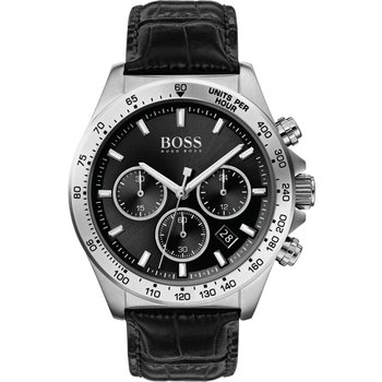 BOSS Hero Chronograph Black Leather Strap