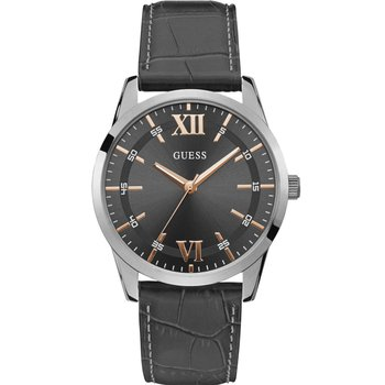 GUESS Mens Grey Leather Strap