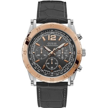 GUESS Mens Chronograph Black Leather Strap